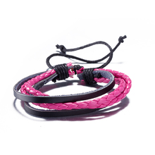 2017 New Brand Punk Braided Rope Wrap Leather Bracelets & Bangles for Women Jewelry Rose red and Black Color Gifts