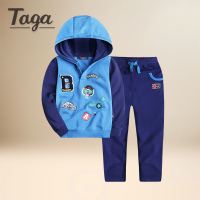 TAGA 2017 New Cotton Kids Baby Girls Boys Hooded Tops Pants Outfits Set 2pcs Suit Baby