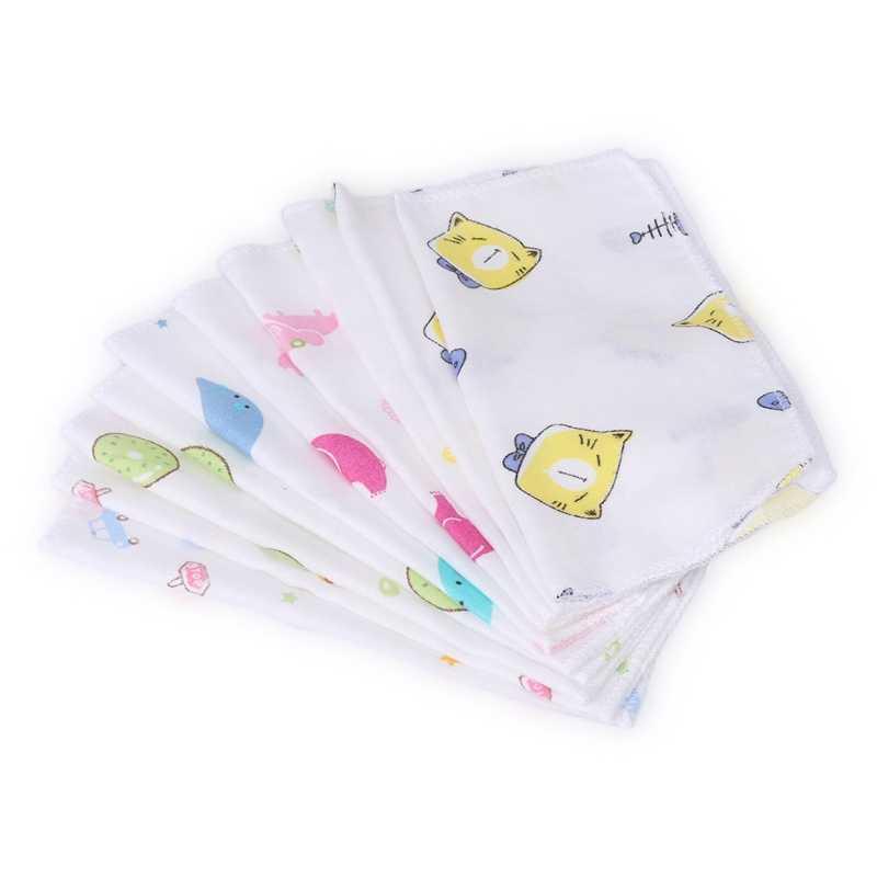 10 sztuk Baby Cartoon twarzy chusteczka dwuwarstwowa 100% bawełna gaza maluch karmienie plac ręczniki noworodka