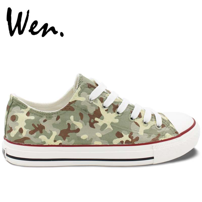 Wen Original Design Hand Painted Shoes Casual Custom Special Forces Camouflage Pattern Low Top Canvas Sneakers Unisex Presents camouflage pattern drawstring design trousers co ord