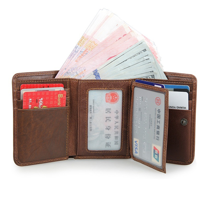 High Quality 100 Genuine Leather Men Wallets Natural Cowskin Money Pocket Large Capacity Men s Purses
