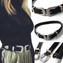 Женские винтажные кожаные ремни в стиле ретро с двойной металлической пряжкой, Новое поступление