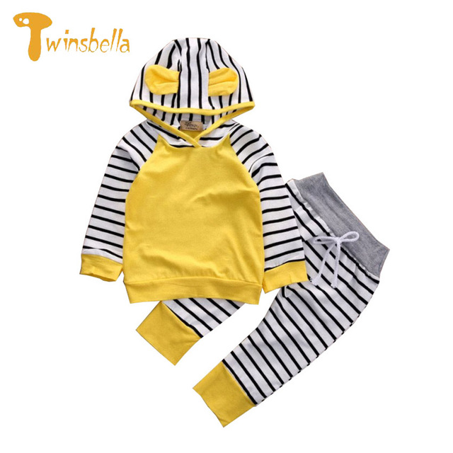 TWINSBELLA Baby Clothing Set Newborn Baby Boy Long Sleeve Striped Hooded T-shirt+Pant Baby Girls 2PCS Cotton Clothes Sets
