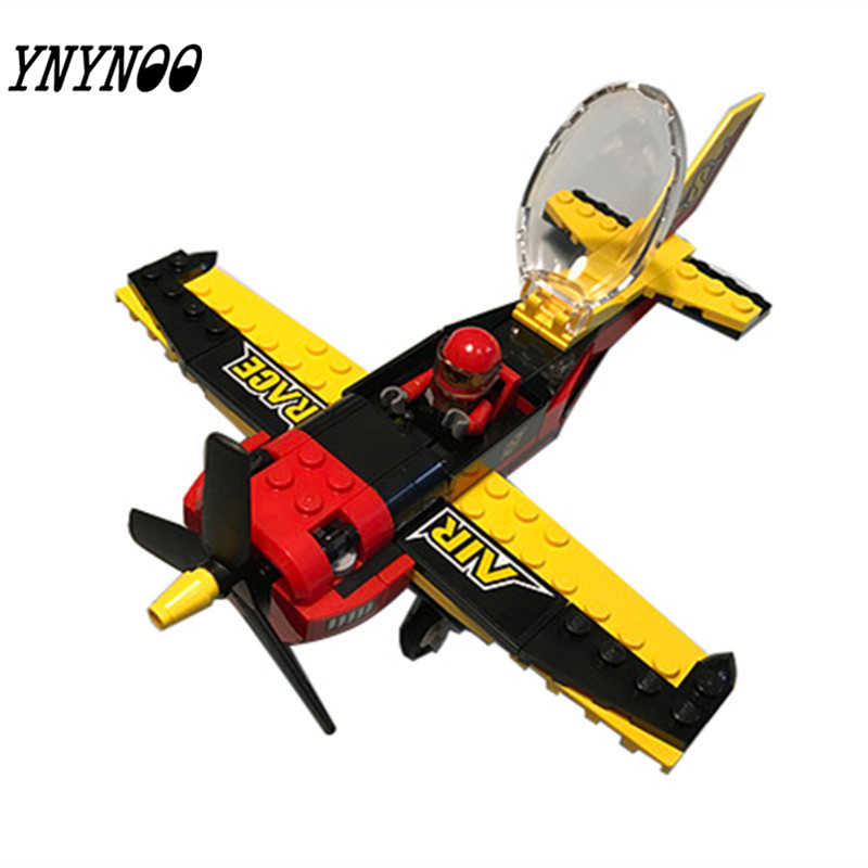 (YNYNOO) 10643 94Pcs City Figures Race Plane Model Building Kits Blocks DIY Bricks Toys Fighter For Children Compatible 10646 160pcs city figures fishing boat model building kits blocks diy bricks toys for children gift compatible 60147