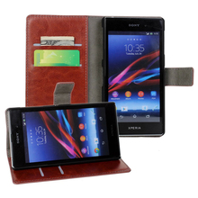 Retro Wallet Leather Case For Sony Xperia Z1 L39h Noble Phone Bag Cover with Card Holder Vintage Luxury Stand Style Whay PU