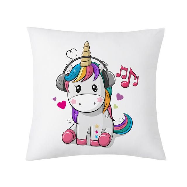 Cartoon Unicorn Printed Cushion Cover