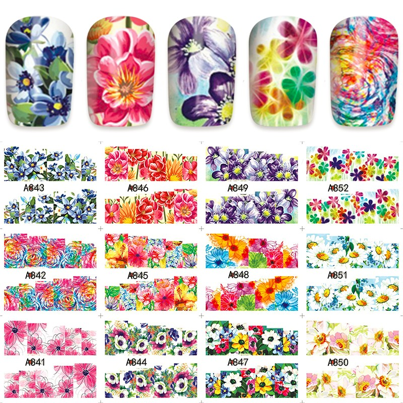 12 PACK/ LOT WATER DECAL NAIL ART NAIL STICKER SLIDER TATTOO FULL COVER COCKSCOMB ROSALIE MORNING GLORY A841-852 4 packs lot full cover white french smile lace tattoos sticker water decal nail art d363 366w