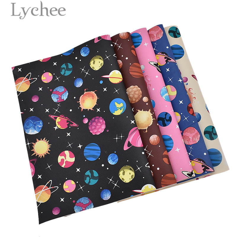Lychee 29x21cm A4 Starry Sky Faux PVC Leather Fabric High Quality Synthetic Leather DIY Material For Handbag Garments