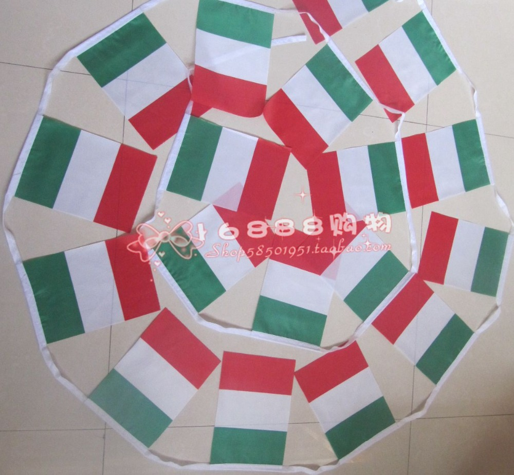 Spot <font><b>Italian</b></font> flag <font><b>Italian</b></font> flag string flags small flags 5 m 20 face 14 * 21CM <font><b>home</b></font> bar <font><b>decoration</b></font> quality polyester Free Shippin