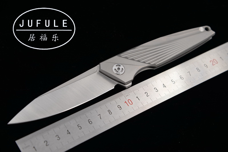 JUFULE Original custom made M390 blade TC4 Titanium Flipper folding camping hunting pocket fruit EDC tool dinner kitchen <font><b>knife</b></font> image