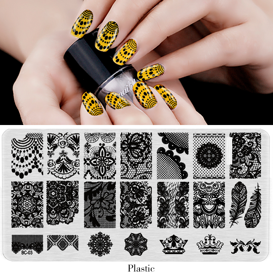 Plastic Nail painting Stamper Plate DIY Gel Polish Printer Transfer Template Nail Decoration Nail Art Tools BC