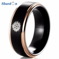 SHARDON 8 MM Tungsten Alyans, yeni Okul SUPERNATURAL Tasarım, siyah Saten Finish Ile Altın Erkekler için Adım Promise Ring
