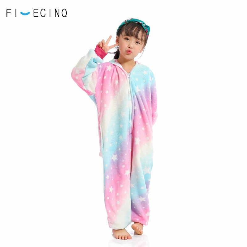 РАДУГА ЗВЕЗД Единорог Onesie Детские фланелевые пижамы в целом мягкие милый  комбинезон для девочек фестиваль вечерние de2e369700d53