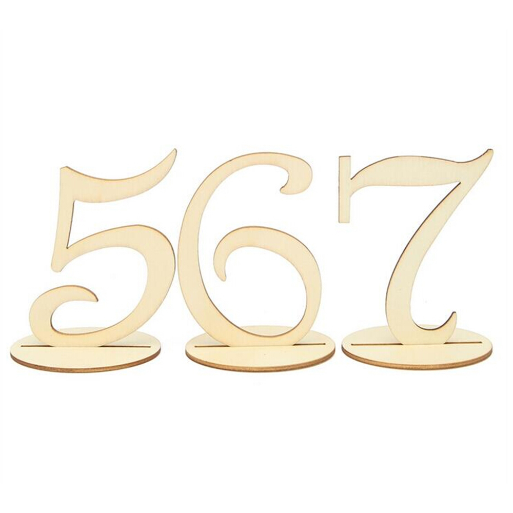 Lovely 1-20 Wooden Table Numbers Wedding Party Wood Plate Signs Place Holder Table Number Figure Card Digital Seat Decoration