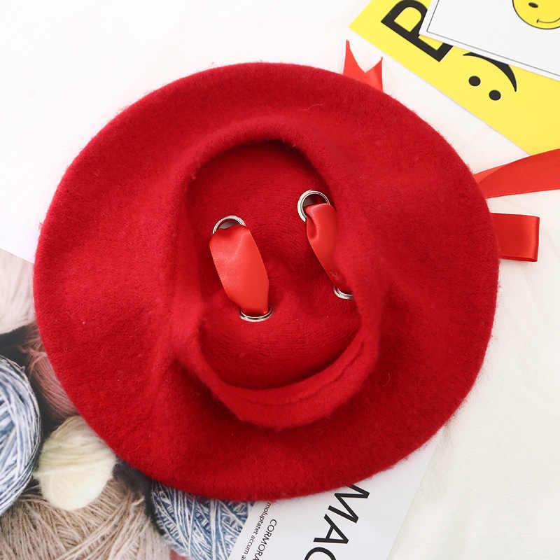 1090c6db8005b ... VISROVER New Sweet Cute Berets Women Winter Hats Soft Macaron color  Ribbon Woolen Lolita Beret classical ...