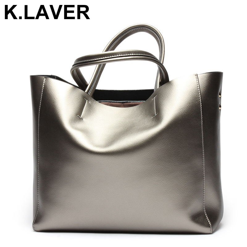 K.LAVER Luxury 100% Genuine Leather Women Casual Tote Shoulder Bag Brand Designer Cowhide Real Leather Female Bags A4 Available [whorse] brand luxury fashion designer genuine leather bucket bag women real cowhide handbag messenger bags casual tote w07190