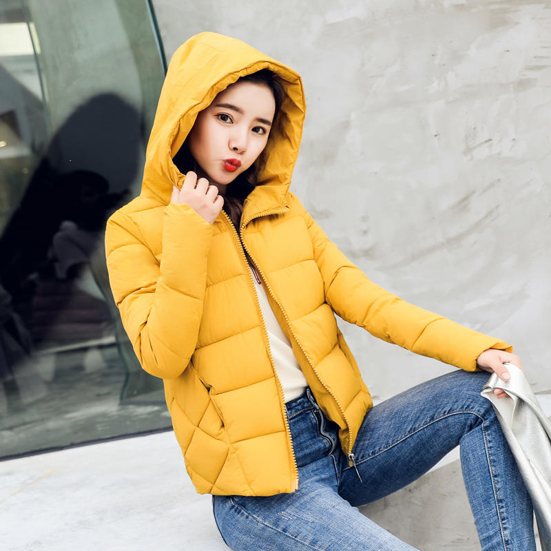 Autumn Winter Jacket Women Plus Size   Parkas   Thicken Outerwear Hooded Coats Short Slim Jacket Long Sleeve Ladies Tops Coats Q669