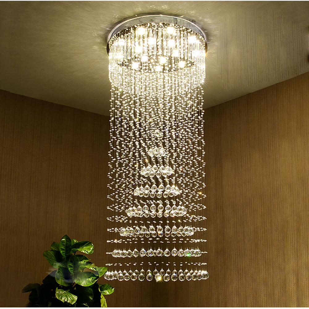 large living room chandeliers pictures of rooms with brown leather furniture villa stair chandelier long led crystal ceiling lamp modern rotating lighting