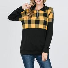 New 2019 Fashion Casual Yellow Plaid Knitted Women Blouse