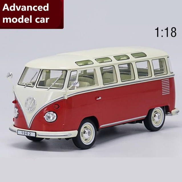1 18 Advanced Alloy Car Toy Retro Bus Volkswagen T1 Van 1962 Cast Metal Model Vehicle Collection Free Shipping