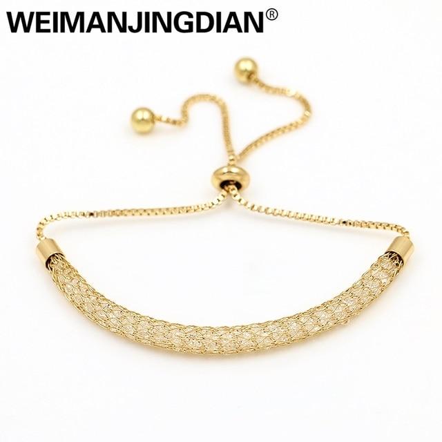 Weimanjingdian Cubic Zirconia Crystal Inside Mesh Bag Bolo Bracelets