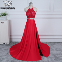 Halter Neckline Two Pieces Red Prom Dress Applique Lace Tie Back Front Slit Sexy Backless Evening Dress vestido formatura
