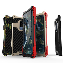 купить Anti-Skip Metal+Silicone Hybrid Case For Samsung Galaxy S9 S9+Plus Armor Rugged Full Protect Cover Heavy Duty Protection 3-Proof по цене 1438.76 рублей