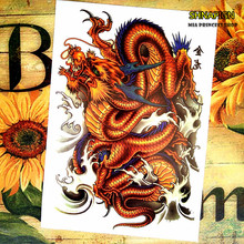 SHNAPIGN Chinese Dragon Temporary Tattoo Body Art Flash Tattoo Stickers 12x20cm Waterproof Henna Styling Home Decor Wall Sticker