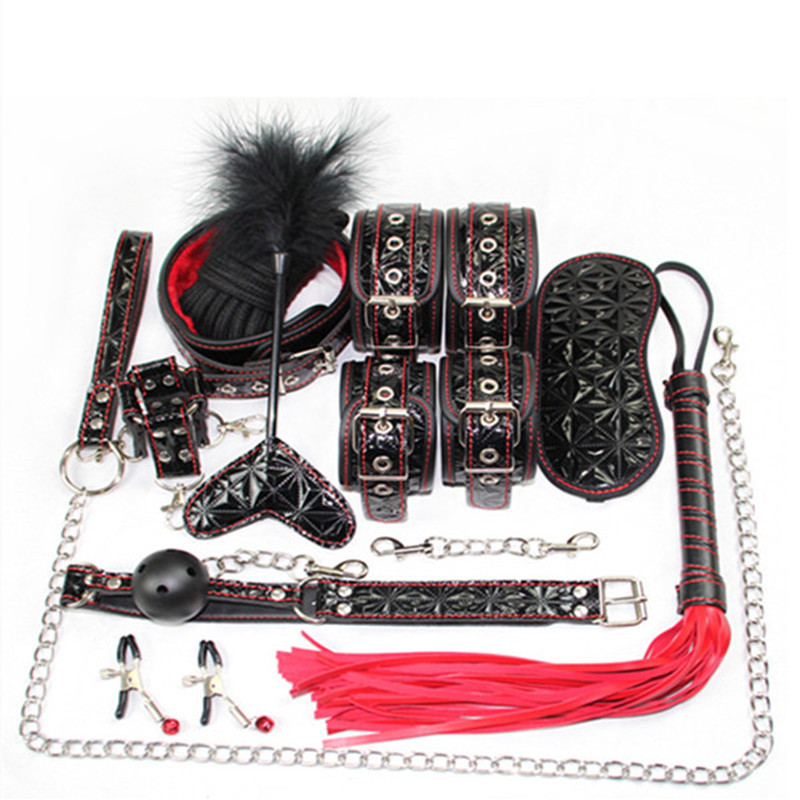 Hot sale PU Leathe 10PCS/SET Adult games BDSM Bondage Restraint SM Kit Handcuffs Collar Gag Mask Paddle Whip Sex Toys for women недорго, оригинальная цена