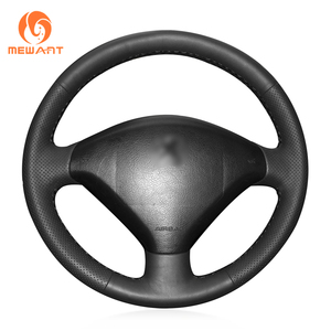 MEWANT Black Artificial Leather Hand Sew Wrap Anti-Slip Car Steering Wheel Cover for Peugeot 307 2001-2008 307 SW 2005-2008(China)