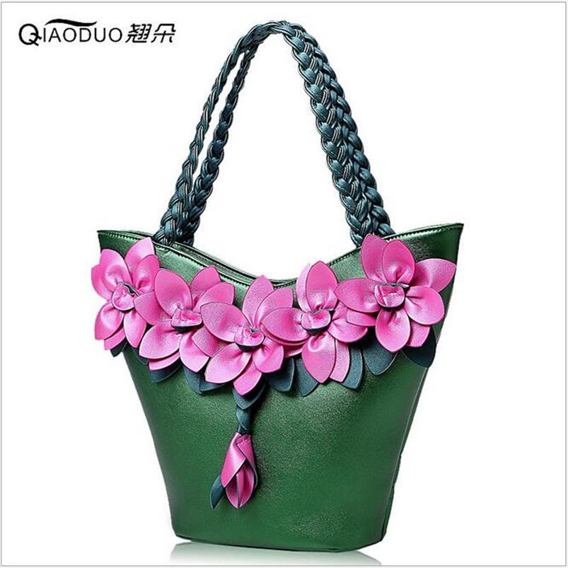 ФОТО 2016 New Women Handbag Sweet Lady Hit Color Stitching Fashion Flowers Weave Messenger Bags Large Capacity Bag