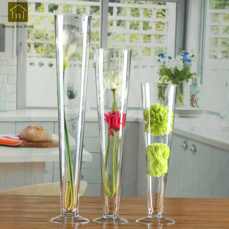 Grand Vase en verre mariage nordique Transparent grand Vase récipients en verre créatif fleur Vase décoration pour mariage QAB010