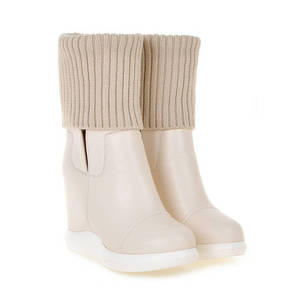 Image 3 - MORAZORA 2020 new style round toe mid calf boots women slip on Stretch boots comfortable wedges shoes woman autumn winter boots