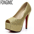 Fashion Spring Autumn Women Solid Wedding Rhinestone  All-match Ladies Peep Toe slip-on  Comfortable High Heels Pumps Shoes