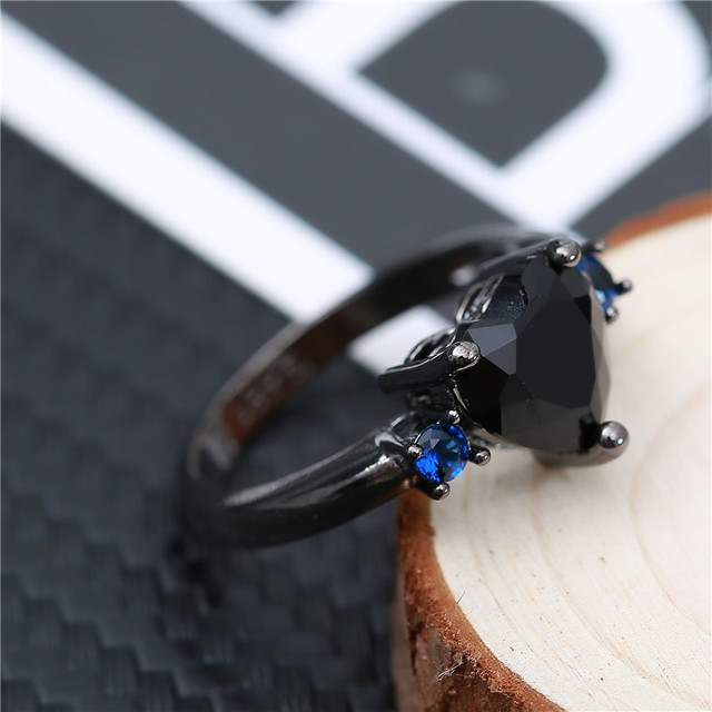 Fdlk punk na moda do vintage preto ouro preto cor do ouro amor coração charme anel de dedo para as mulheres azul preto cristal festa de casamento r