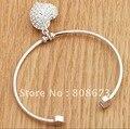 silver heart bracelet/silver plate bangle/ Chaming bracelet jewlery