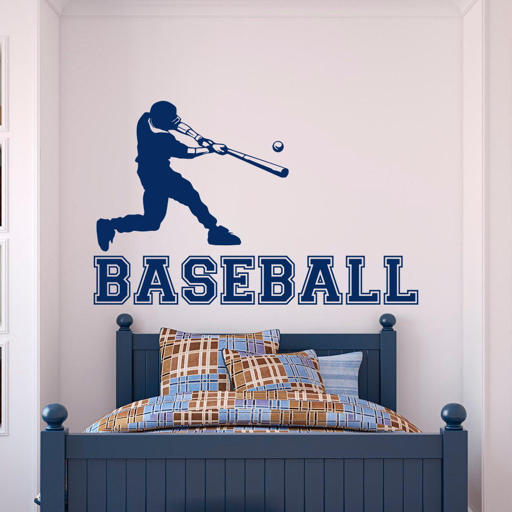 Baseball Player Wall Decal Gym Sports Wall Vinyl Stickers For Boys
