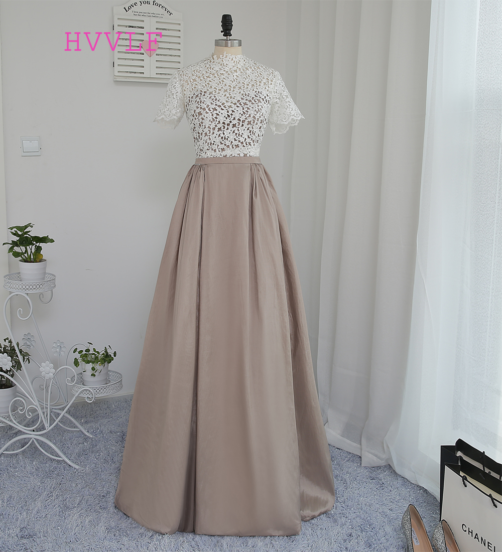 New 2019 Formal Celebrity Dresses A-line High Collar Short Sleeves Floor Length Taffeta Lace Famous Red Carpet Dresses