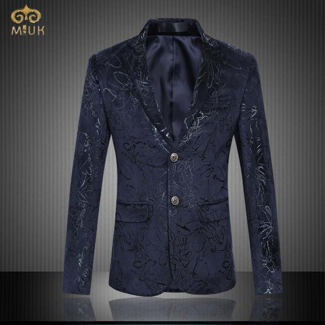 MIUK Large Size Print Blazer Men Brand-clothing 6XL 5XL National Style Navy Men Blazer Slim Fit Blazer Masculino 2017 New