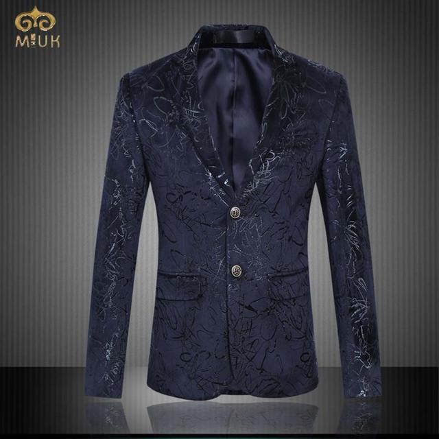 Miuk chaqueta hombres de la marca de gran tamaño de impresión de ropa 6xl 5xl hombres blazer slim fit blazer masculino marino estilo nacional 2017 nuevo