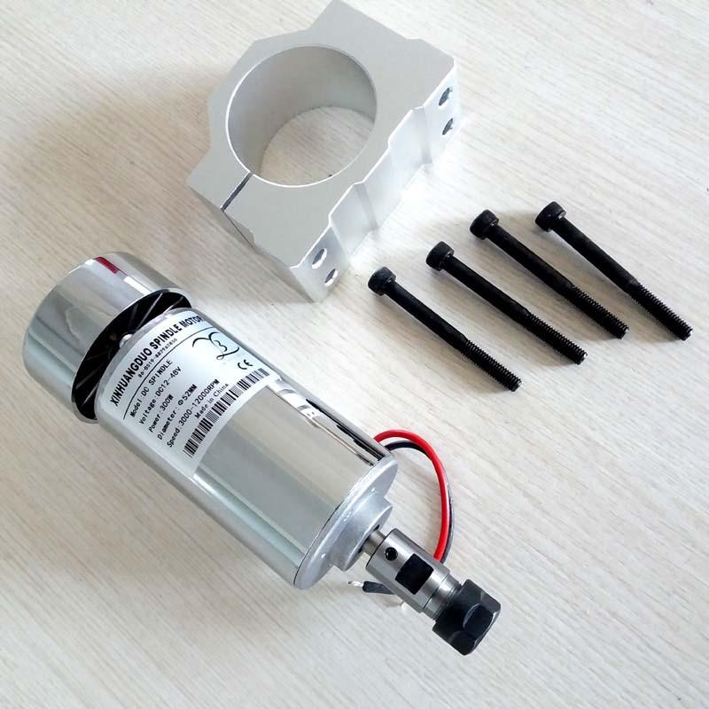 Air Cooled High Speed 300W Spindle Motor 12 48VDC ER11 3 175MM Collect 52mm Mount Bracket