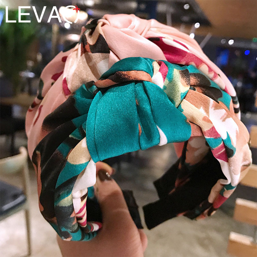LEVAO New Floral Print Headbands Satin Fabric Cross Knot Hairbands Side Wrapped Wide Hair Hoop Hairbands Girls Hair Accessories