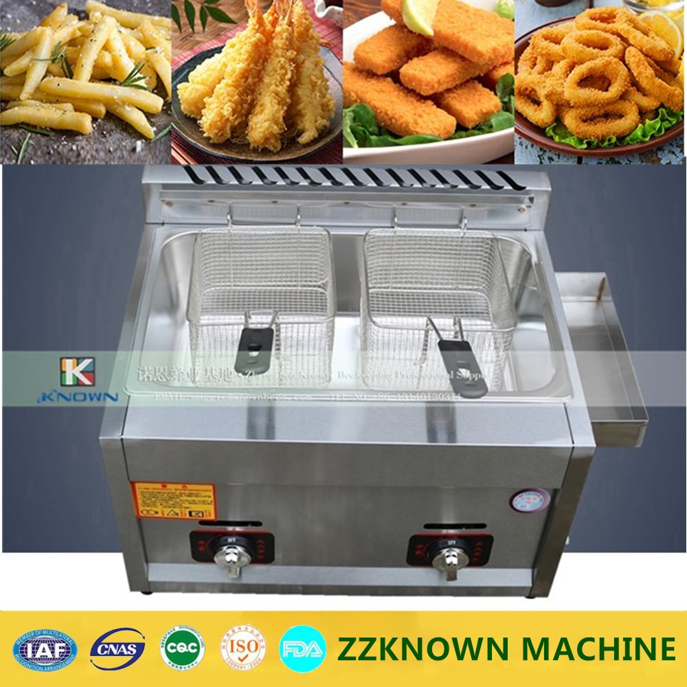 Commercial stainless steel fryer gas type chicken potato two basket deep fryers