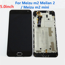 100% Warranty Frame+LCD Display+Touch Screen Digitizer Assembly+home bottom For Meizu m2 Meilan 2 meizu m2 mini Cell Repair Part