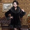 Luxury Winter Ladies Genuine Rex Rabbit Fur Coat Fox Fur Collar Women's Fur Outerwear Garment VF0312