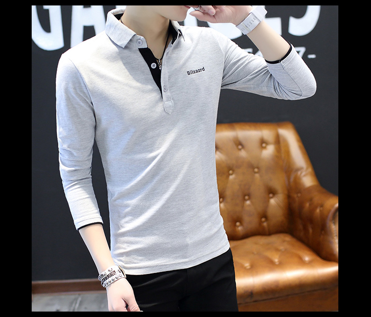 2019 men splicing t-shirts with short sleeves Comfortable in summer youth leisure lapel t-shirts 42