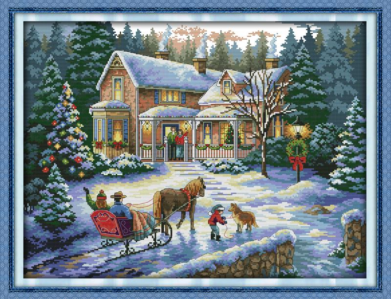Kthim nga piktura e artit e Krishtlindjes 11 kanavacë të shtypur DIY gjilpërë DMC numërohen kits Kryqi këpucësh kineze për artizanal qëndisje