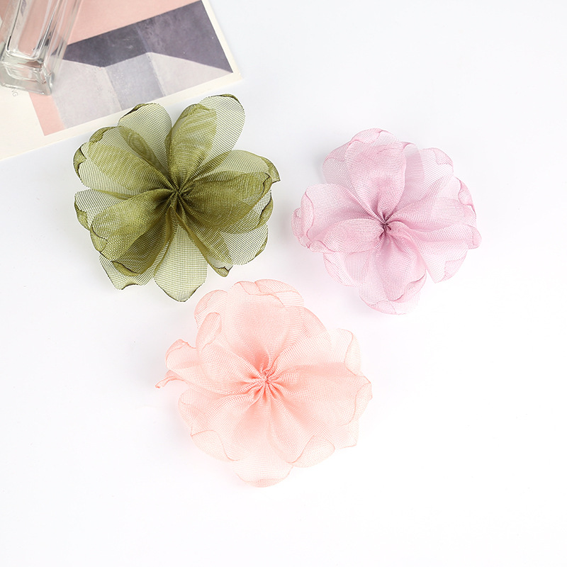 30pcs cute burned edge chiffon flowers without clips girls headbands hair accessories