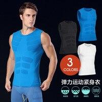 Mężczyźni rękawów kamizelka mucsle pochłaniające budowy ciała tshirt mężczyzn ciała shaper kompresji tight crossefit fitness odzież bez rękawów