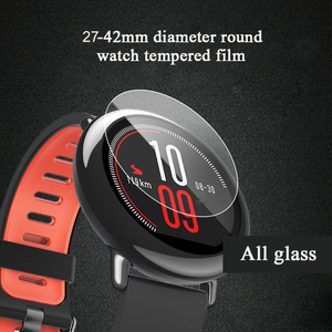 Image 4 - 100pcs 9H 2.5D Tempered glass 30mm 42mm Round watch Smart SportWatch Protective Glass film Screen Protector For mi Lenovo Garmin